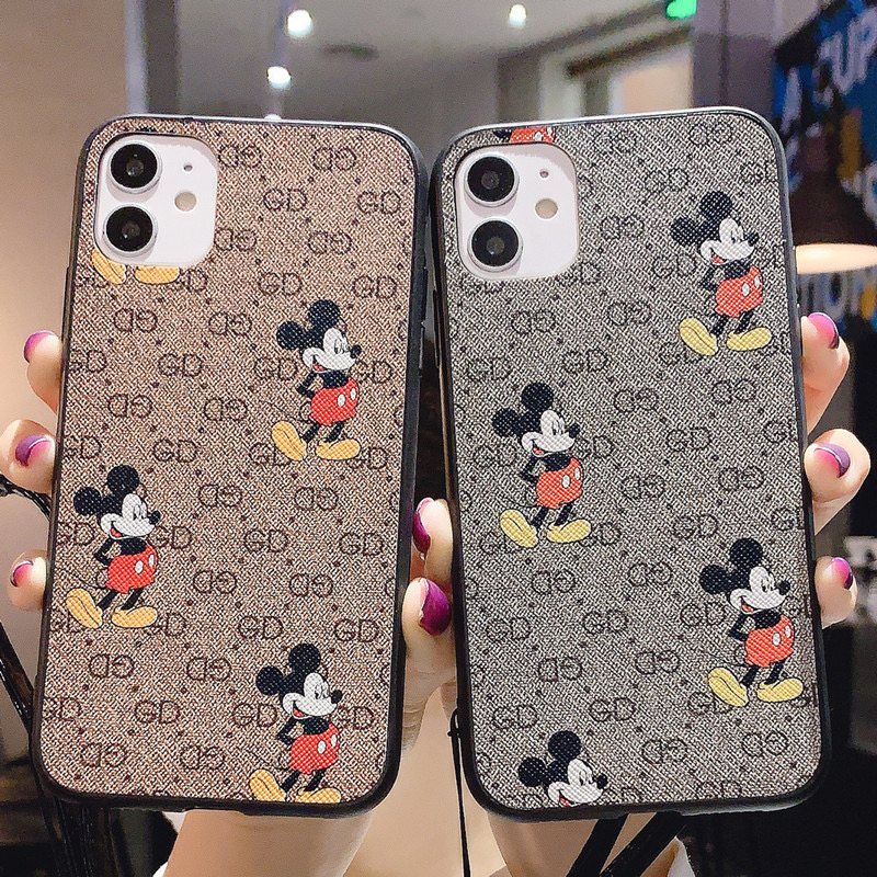 Luxury Brand Mouse Hard Leather Phone Case For Iphone 6 7 8 Plus X XS XR MAX 11 Pro For Samsung Galaxy S20 Ultra S10 S9 S8 Cover