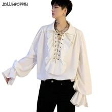 European Royal Style Men Gothic Shirt Long Sleeve Lace Up Front 2021 Spring Ruffled Design Mens Vintage Shirt Turn Down Collar