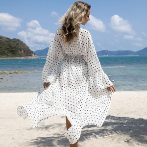 Image 4 - 2020 New Sexy Beach Cover Up Women Bikini Swimsuit Cover Up Polka Dot Beach Dress Long Tunics Bathing Suits Cover Ups Beachwear