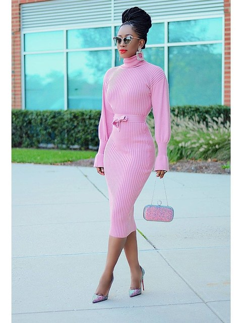 WJFZQM Turtleneck Basic Ribbed Knitted Sweater Dress Autumn Ruffles Sleeve Sashes Midi Sexy Bodycon Winter Office Pink Dresses 6