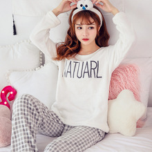Flannel Sleepwear Female Women Pajamas Sets with Pants Pyjama Warm Coral Velvet Sleep