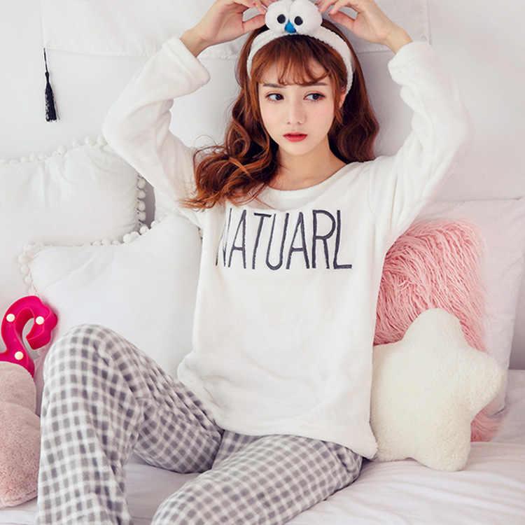 Sonbahar Kış Kadın Pijama Setleri Pantolon Pijama Sıcak Mercan Kadife Flanel Uzun Kollu Kadın Karikatür Hayvan Pijama Pijama
