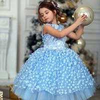 New Fashion Baby Girl Dress Princess Lace Tulle Tutu Dress Floral Sky Blue Dress Flower Party Dress AG0211