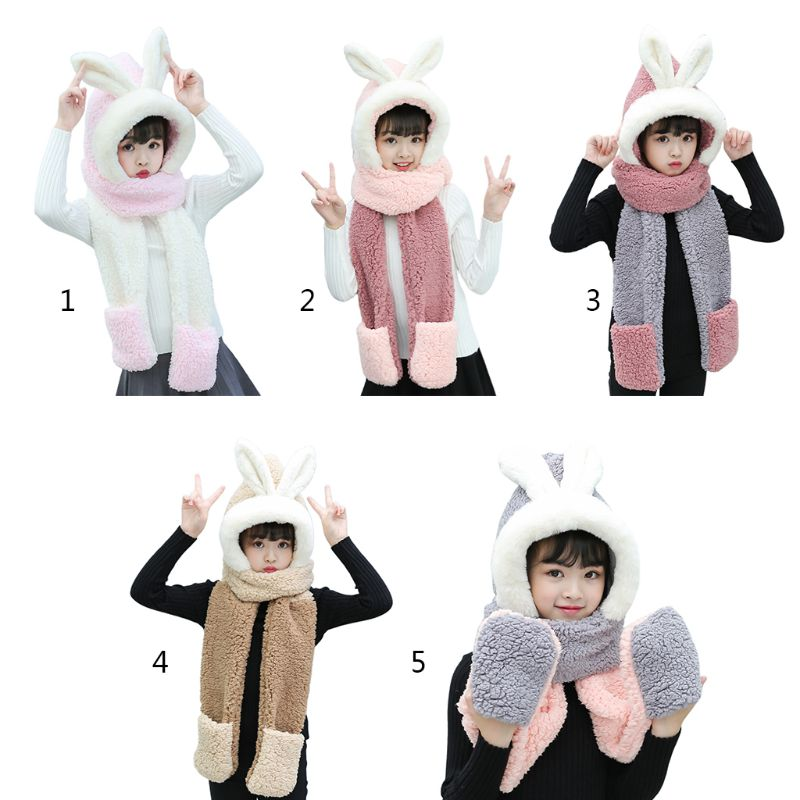 THINKTHENDO Kids 3 In 1 Scarf Hat Gloves Stitching Color Adorable Rabbit Ear Hoodie Earflap