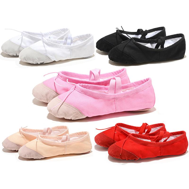 soft black red white pink flat teacher kids ballet shoes for girls women ballet shoes children canvas