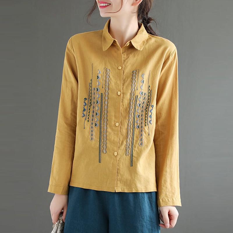 Plus Size Women Blouses Shirts New 2020 Autumn Vintage Embroidery High Quality Female Long Sleeve Cotton Linen Tops Shirt P1287 7