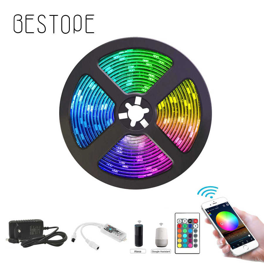 WIFI LED Strip Lampu DC 12V SMD 5050 Fleksibel Diode Ribbon Tape RGB Lampu Waterproo WIFI Remote Full Set non Tahan Air Lampu