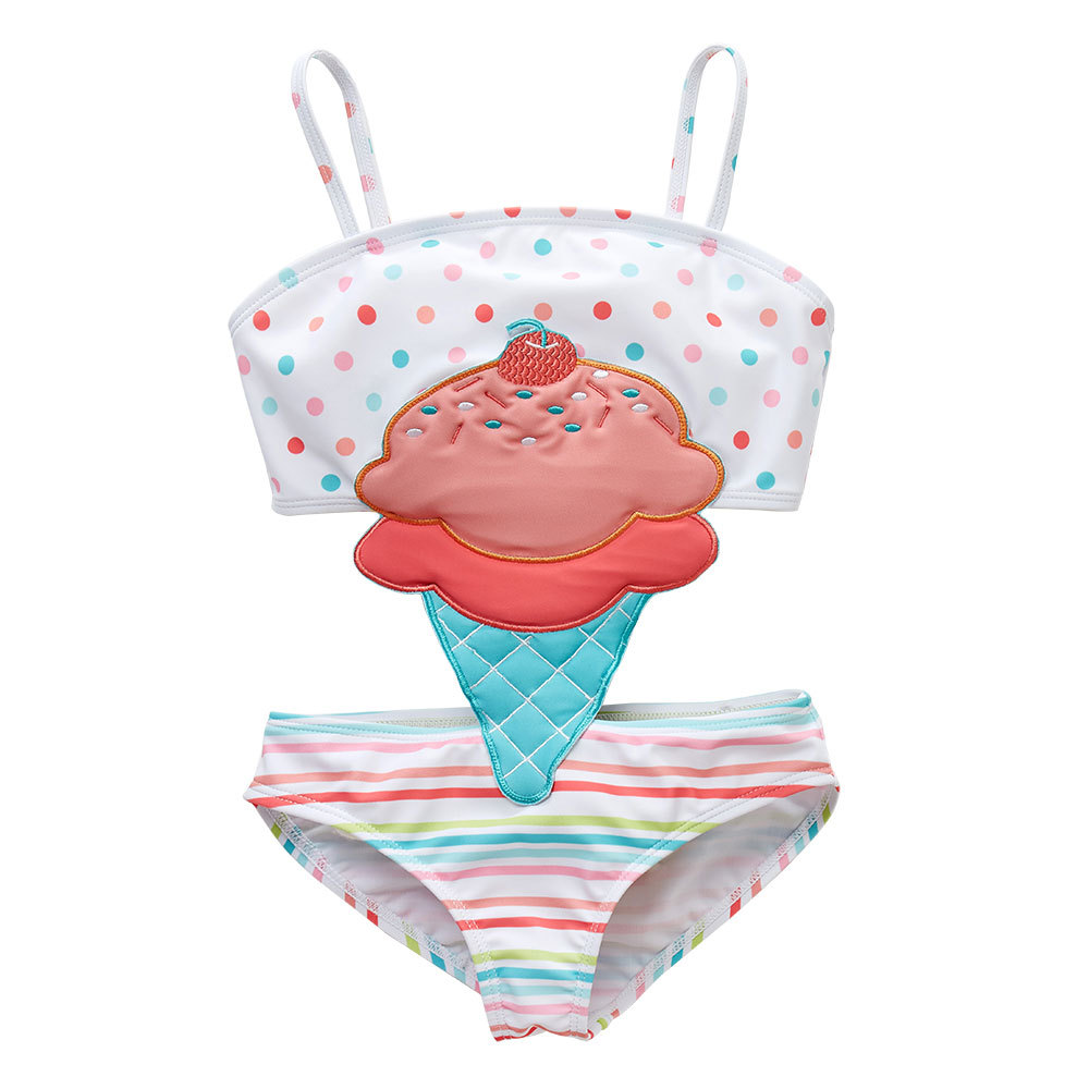 2019 New Style Bathing Suit Europe And America Baby Girls Swimwear Big Boy Ice Cream Hot Springs Siamese Swimsuit Factory Direct