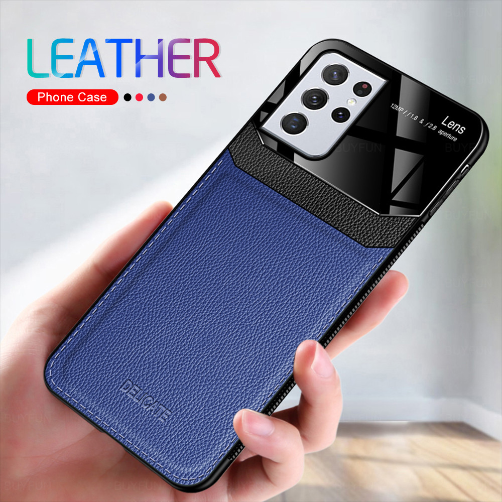 leather plexiglass back cover for samsung galaxy s21 s 21 ultra plus s21plus s21ultra case soft silicone bumper shockprook coque