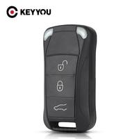 KEYYOU-funda de repuesto para llave de coche, carcasa plegable con 3 botones para Porsche Cayenne 2010, 2009, 2008, 2003, 2004, 2005, 2006
