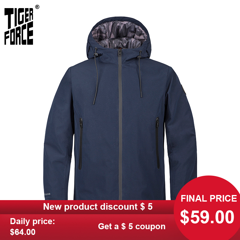 TIGER FORCE 2020 New Men's Jacket Hooded Windbreaker Windproof High Quality Warm Streetwear Outwear Casual Clothes TJBW-50636