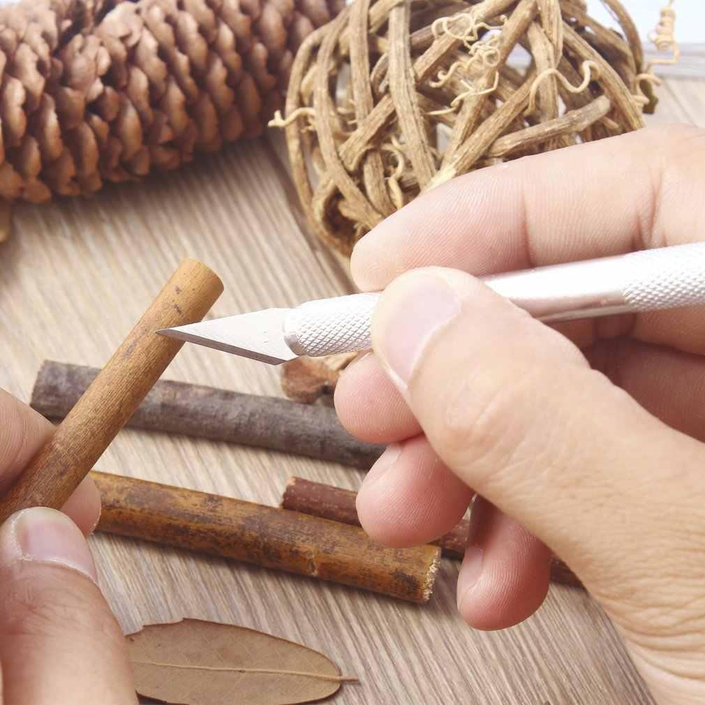 Oudad mango de Metal cuchillo para tallar con 5 hojas cortador de bisturí tallado herramienta de carpintería de Metal grabado herramientas de mano DIY