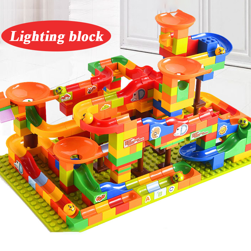 256pcs Path Running Maze Ball Track Building Blocks Ball Slide DIY Light Puzzle Inserts Assembled Small Particles Building Block