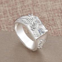 RetroSen тенденции моды китайский дракон кольцо с бриллиантом для мужчин властная одно бриллиантовое кольцо светильник класса люкс ниши, модны...