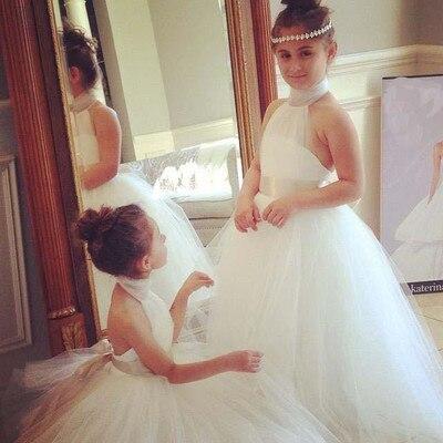Halter Neck   Flower     Girl's     Dresses   Floor Length Tulle Ball Gowns vestidos de comunion