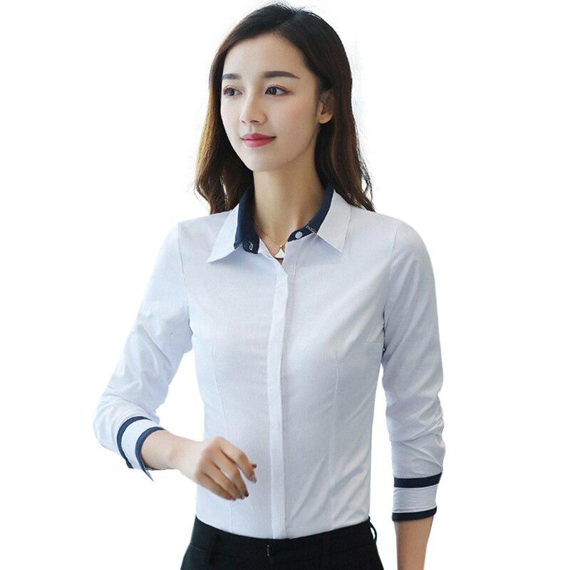 Korean Women Shirts Woman Cotton White Shirt Plus Size Elegant Office Lady Long Sleeve Shirts Women Blouses Blusas Mujer De Moda