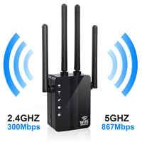 Routeur répéteur Wifi sans fil 1200Mbps double bande 2.4/5G 4 antenne Wi-Fi Range Extender routeurs Wi-Fi réseau domestique fournitures pour la maison