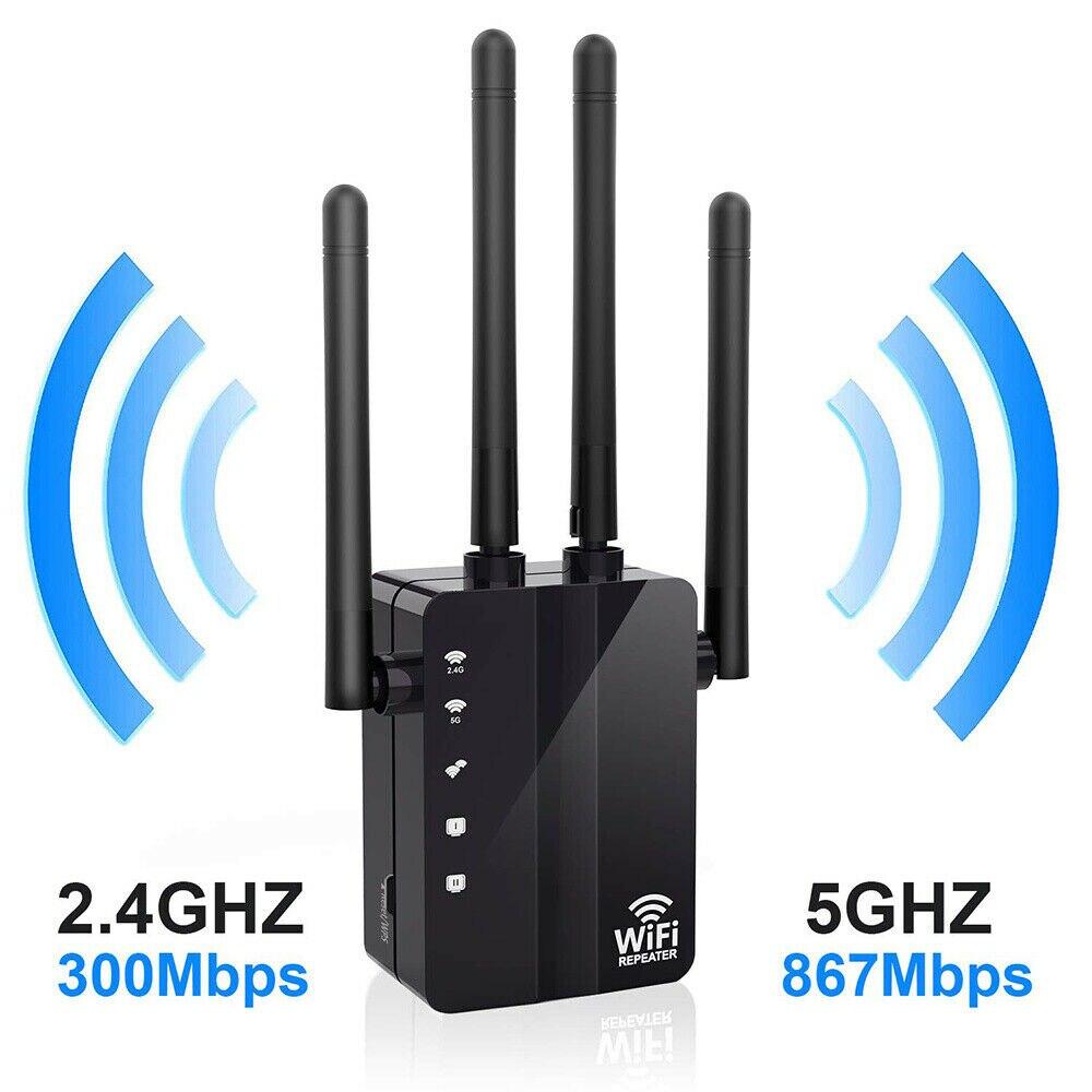 Sem fio Wifi Repeater Router 1200Mbps Dual-Band 2.4/5G 4 Antena Wi-Fi Extensor de Alcance Wi-Fi Roteadores rede doméstica Para Casa e Jardim
