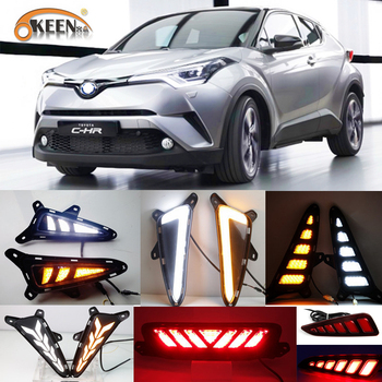цена на 1Set LED DRL For Toyota C-HR CHR 2016 2017 2018 2019 Daytime Running Light Rear Tail bumper Fog Lamp Brake light Warning light