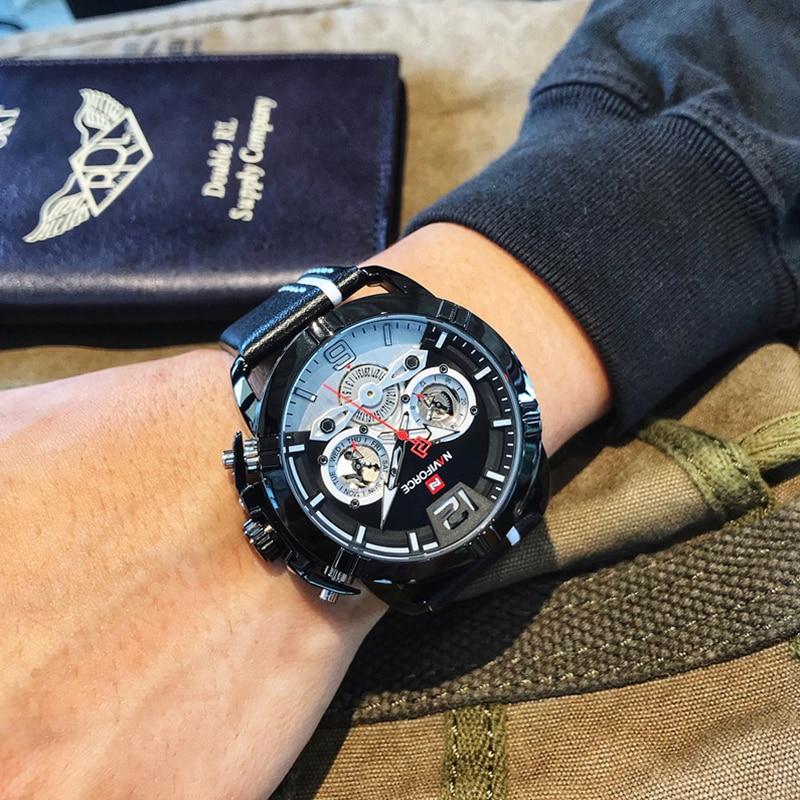 NAVIFORCE Creative Men's Watch Fashion Sports Watches Waterproof Leather Analog Quartz Wrist Watch Men Clock Relogio Masculino