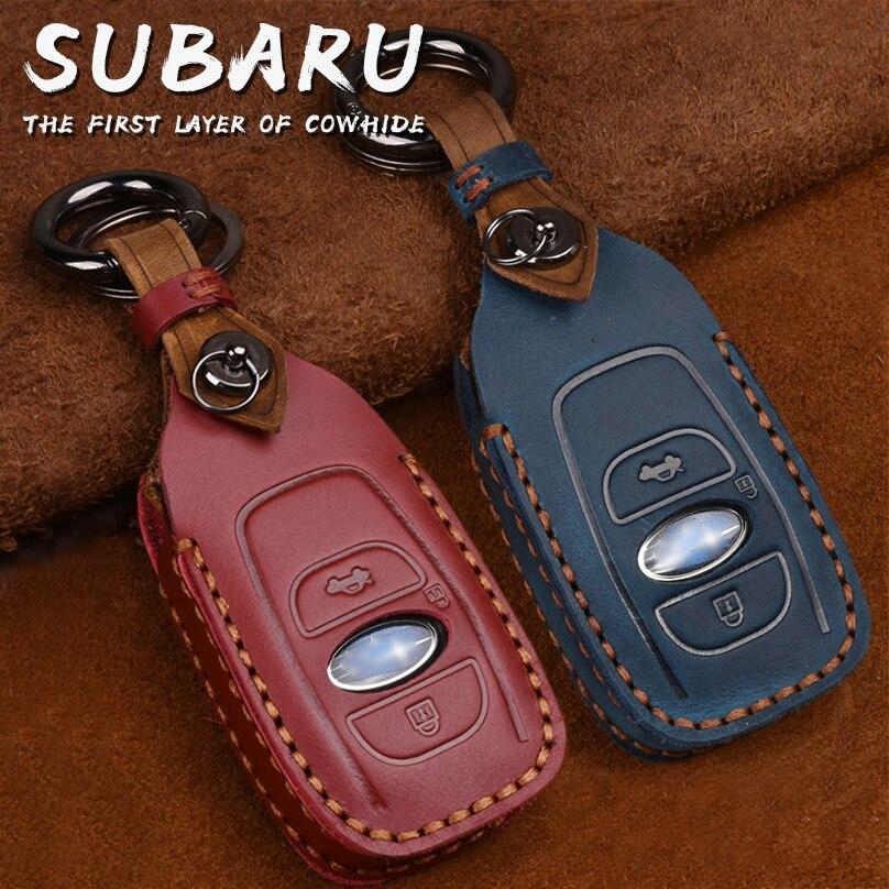 Retro Genuine Leather Remote Key Fob Case Cover Protector Keychain for Subaru Forester Impreza Outback WRX BRZ XV Crosstrek title=