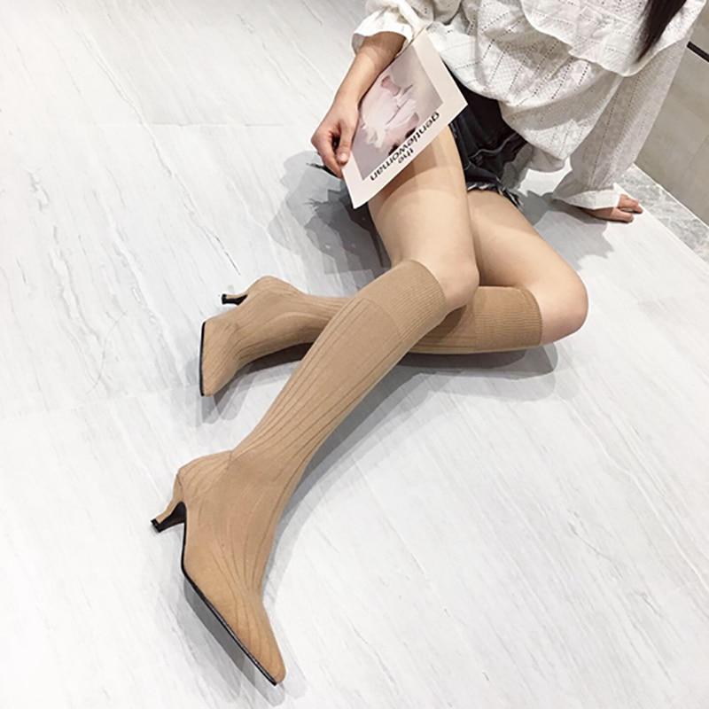 Women Knee Boots 2019 Autumn Girl Shoes Fashion Pointed Toe Thin Mid Heeled Knee Knitting Botas Dress Shoes Black/Khaki Size 39