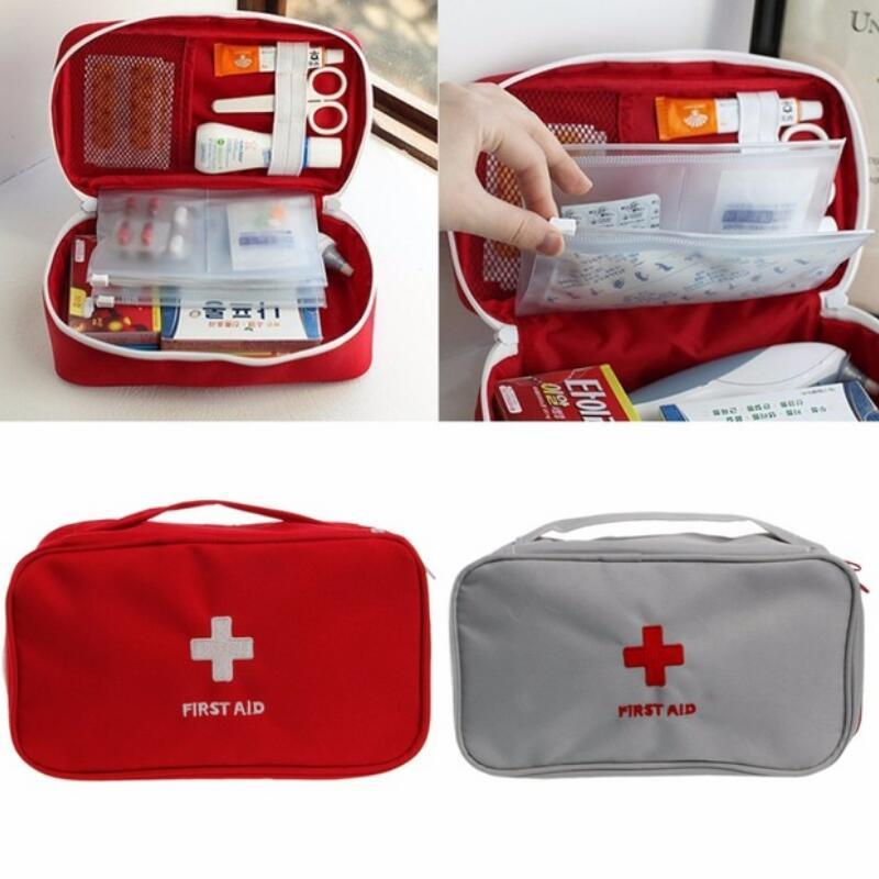 Multifunction Emergency Bag Zipper Nylon Pouch Camping Portable Handheld Medical Bag First Aid Kit Medicine Organizer Container