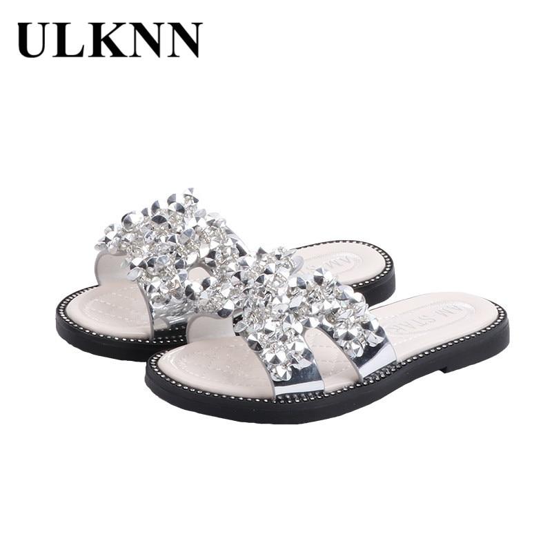 ULKNN Kid's Slippers 2020 Summer New Style -style Girls Sandals Baby Girls Man-made Diamond Princess Peep-Toe Anti-slip Shoe