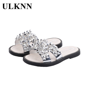 ULKNN Kid's Slippers 2020 Summer New Style -style Girls Sandals Baby Man-made Diamond Princess Peep-Toe Anti-slip Shoe - discount item  47% OFF Children's Shoes