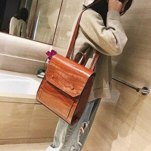 Image 5 - Vintage Pu Leer Vrouwen Rugzak Preppy Stijl Rugzakken Mode Schooltas Voor College Meisje Steen Schoudertas Mochila Feminina