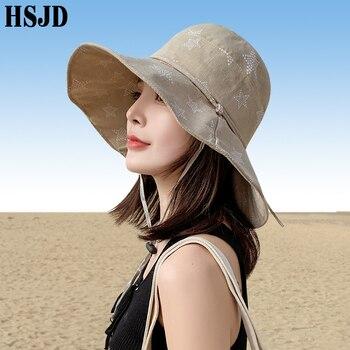 Korean Summer Women Cotton Star Sun Hats Wide Brim Foldable Anti-UV Beach Bow Hat Panama Female Lady Bucket Cap Fisherman hat