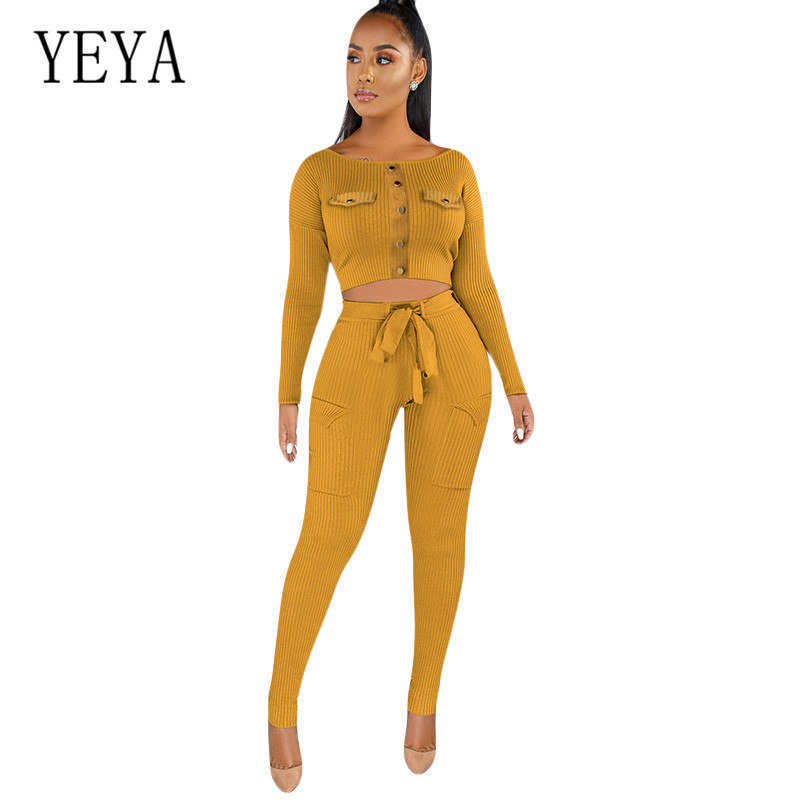 YEYA Two Pieces Sets Long Sleeve Elegant Fashion Pit Knitting Playsuits with Button Women'S Elastic Waist Casual Rompers Autumn