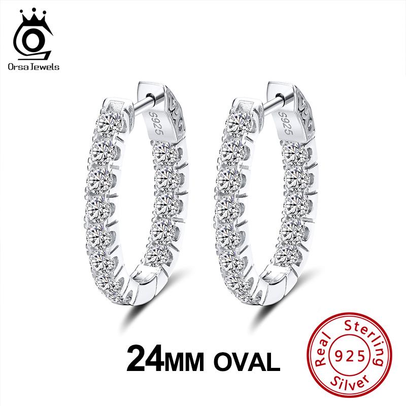 ORSA JEWELS Authentic 925 24 MM Women Hoop Earrings Sterling Silver Full Zircon Circle Earrings Stylish Elegant Jewelry SE222
