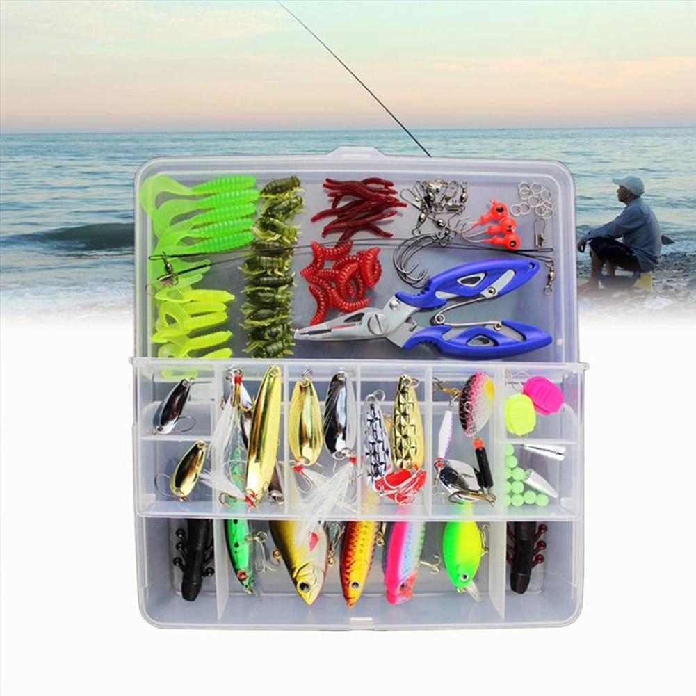 101 pcs Plastic Fishing Lure Set Multi function Crank Baits Lures Set Artificial Worm Silicone Fish Baits Soft Fishing Lure Lead