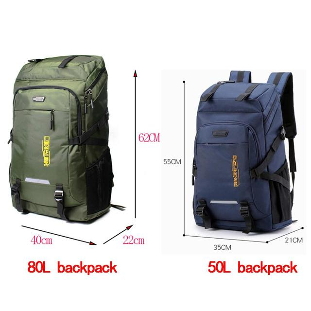 80L waterproof  unisex men backpack travel pack sports bag pack Outdoor Mountaineering Hiking Climbing Camping backpack for male 3