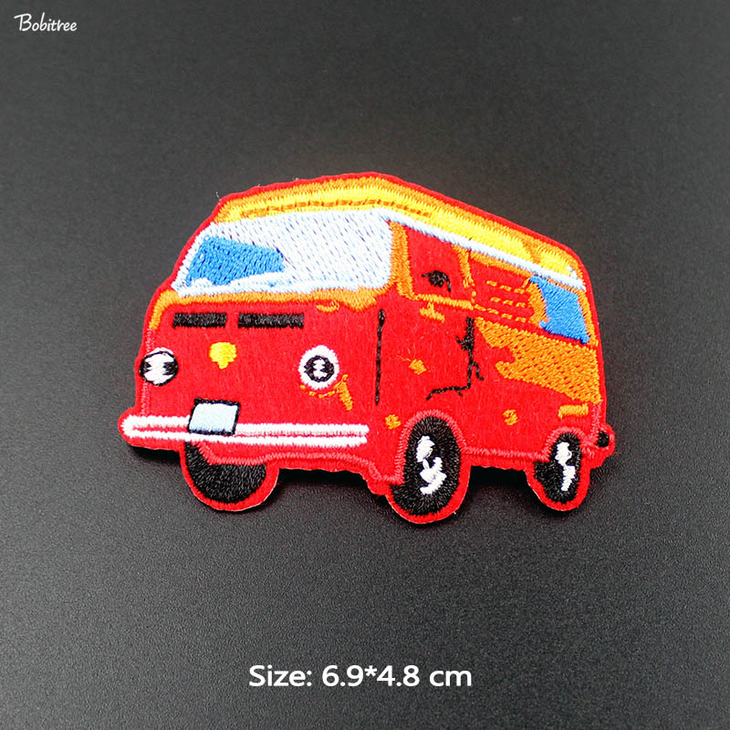 Cartoon Small Red <font><b>Bus</b></font> Cloth <font><b>Patches</b></font> Embroidered Badge iron-on Transfers for Kids Jackets Stickers DIY Sewing Appliques image