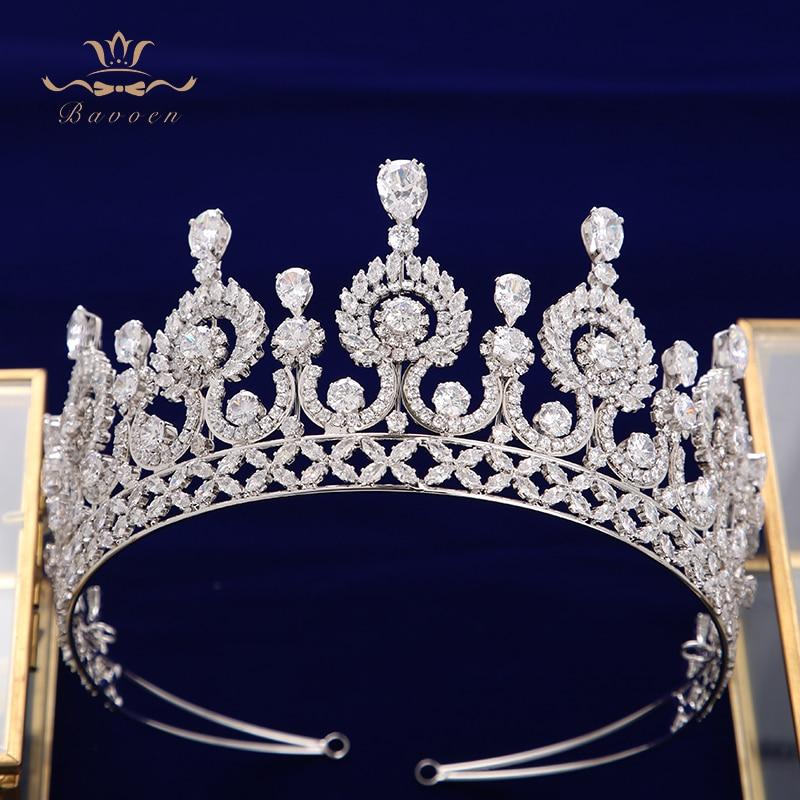 Elegant Gold//Silver Full Zircon Brides Tiaras Crowns Headpieces Hair Jewelry
