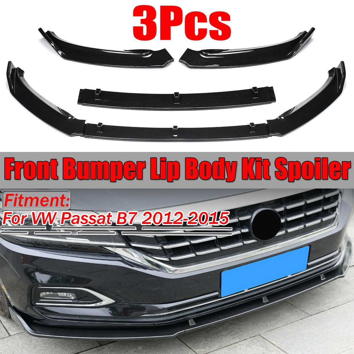 High Quality Car Front Bumper Splitter Lip Body Kit Spoiler Diffuser Guard Protecor Cover Trim For VW For Passat B7 2012-2015