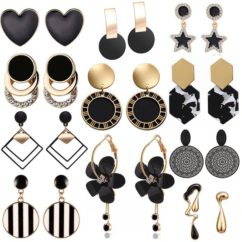 New Fashion Unique Black Drop Earrings Heart Crystal Star Love Geometric Earrings for Women Jewelry Flower Simple Brincos