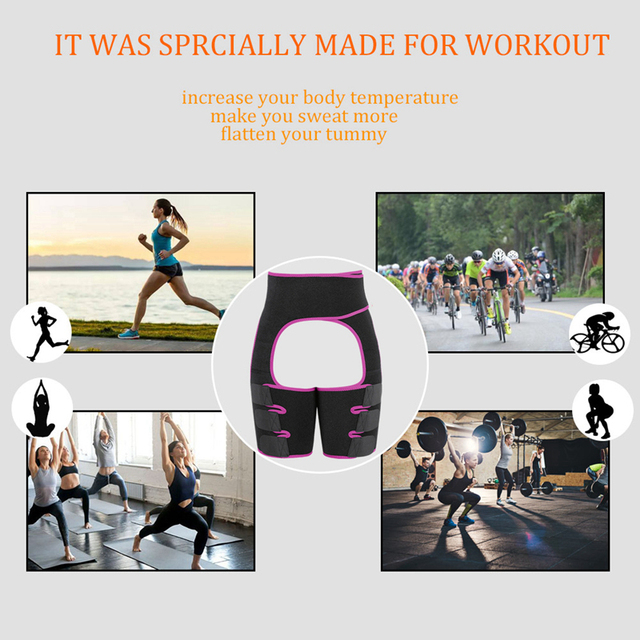 Slim Thigh Trimmer Leg Shapers Slender Slimming Belt Neoprene Sweat Shapewear Toned Muscles Band Thigh Slimmer Wrap M 3