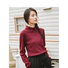 INMAN invierno nueva llegada femenina de Color sólido solapa Simple Casual de manga larga que hace punto el suéter del suéter de las mujeres