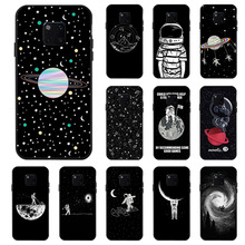 Painted Black Case For Huawei P30 Lite Mate 20 Pro Cases Space Moon Astronaut Cover for P Smart Plus 2018 2019 Nova 3i 3