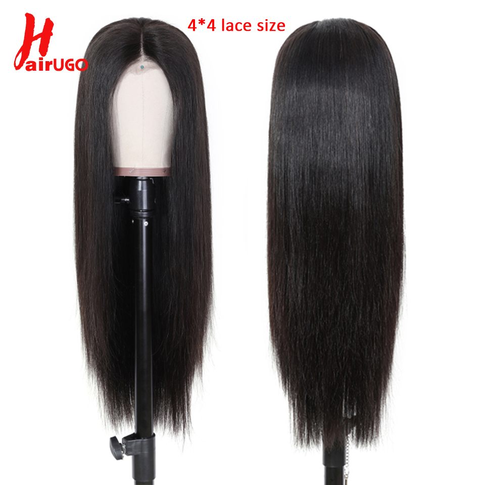 HairUGo 4 * 4 Brazilian Lace Closure Wig 100% Human Hair Wigs For Black Women Non-Remy Hair Lace Straight Wigs With Baby Hair