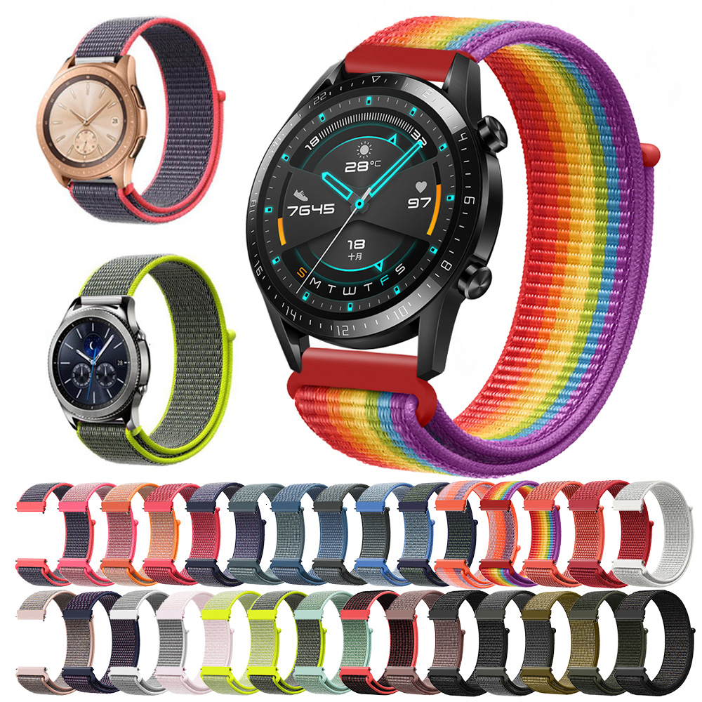 nylon band 20mm 22mm for Xiaomi <font><b>Amazfit</b></font> Gtr 47mm Samsung Galaxy Watch 42mm 46mm Active Gear S3 Classic strap HUAWEI WATCH 2 Pro image