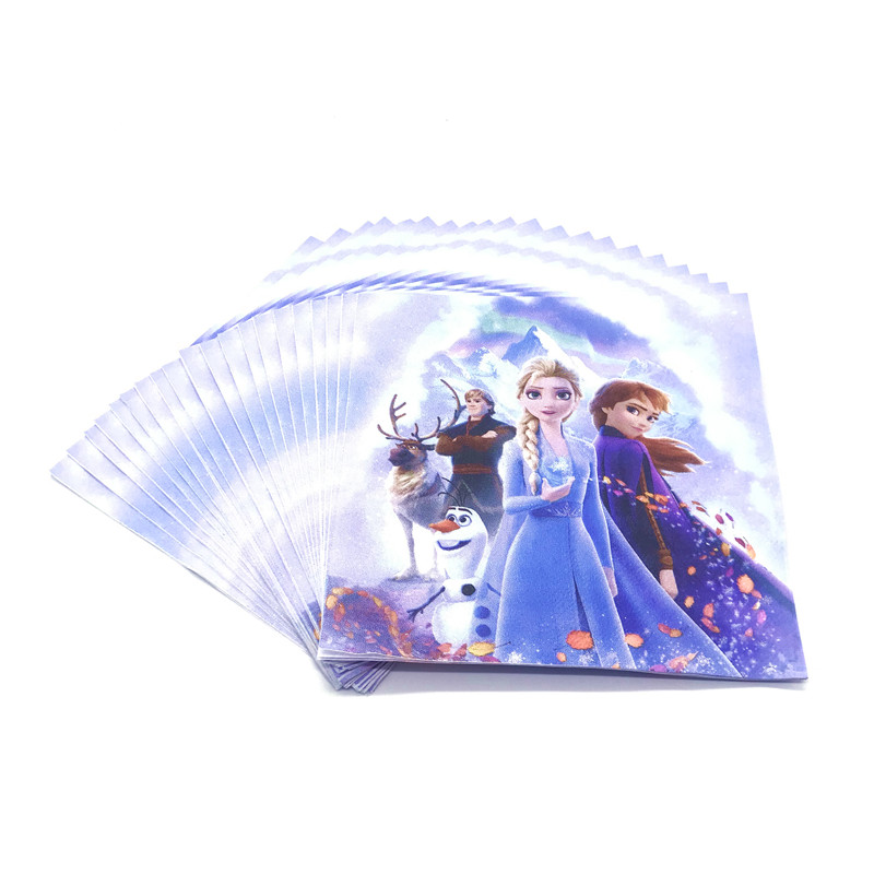 Disney Frozen 2 Cartoon Disposable Tableware Paper Napkins Birthday Party Supplies Paper Towel Baby Shower Decoration For Kids