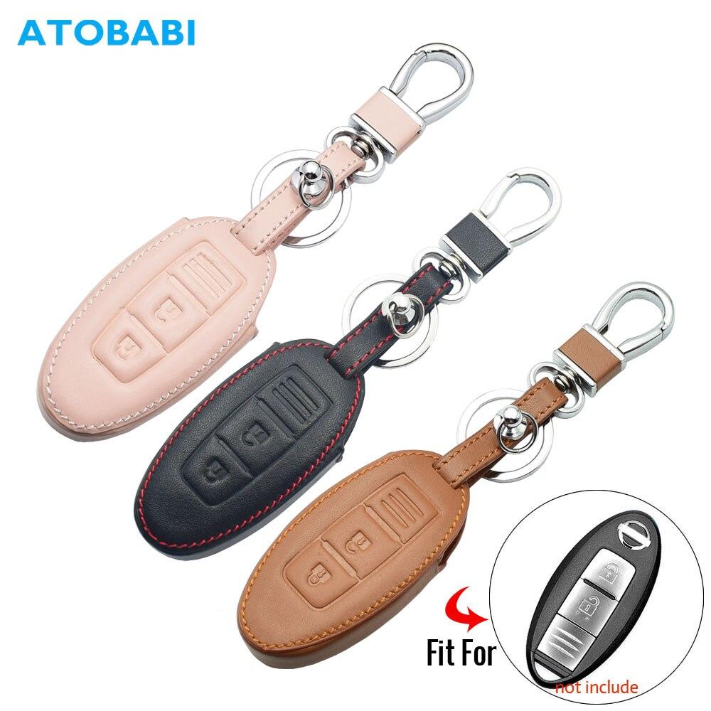 Étui à clés de voiture en cuir pour Nissan 350Z Almera Altima Armada Qashqai Cefiro Cube Juke Livina télécommande Fob protéger la couverture porte-clés sac