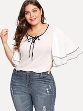 2021 verão casual o-pescoço chiffon t camisa do vintage 5xl xxxxl solto feminino topos plus size tie a corda camisetas blusa feminina