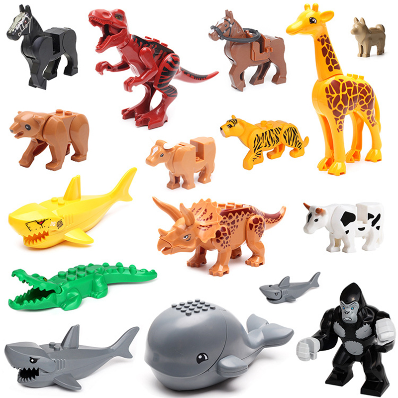 Diy Animals Block City Animal zoo Building Blocks Bricks Whale Leopard Crocodile Orangutan Mini Farm Toys Gifts Children Kids