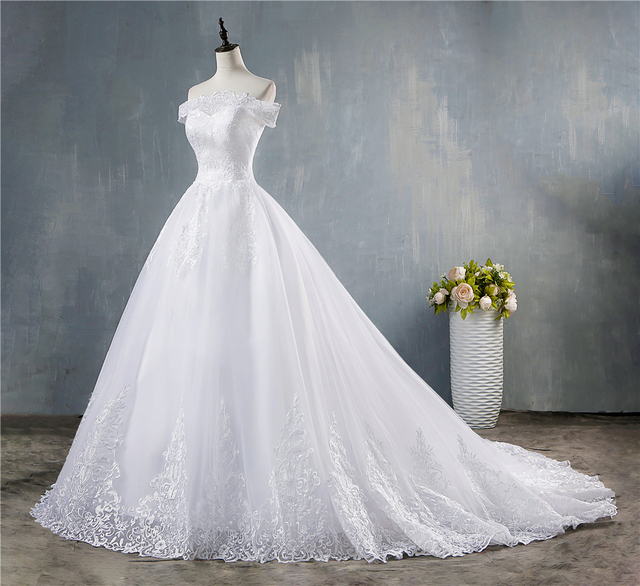 ZJ8150 ZJ9150 2019 2020 new White Ivory Off the Shoulder Wedding Dresses for brides Bottom Lace Big Train with lace edge 2