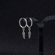 Hip Hop Kpop Boy Leaf Titanium Feather Pendant Hoop Drop Earrings Korean Jewelry Y5GC
